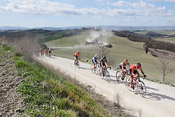 Janneke Ensing (NED), Karol-Ann Canuel (CAN) and Hannah Barnes (GBR) on the fifth sector at Strade Bianche - Elite Women 2019, a 136 km road race starting and finishing in Siena, Italy on March 9, 2019. Photo by Sean Robinson/velofocus.com