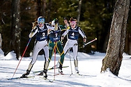 09 MAR 2013:  Joanne Reid of the University of Colorado leads a group put the hill during the Women's Nordic Freestyle competition at the 2013 NCAA Men and Women's Division I Skiing Championship held at Rikert Nordic Center in Middlebury, VT. Brett Wilhelm