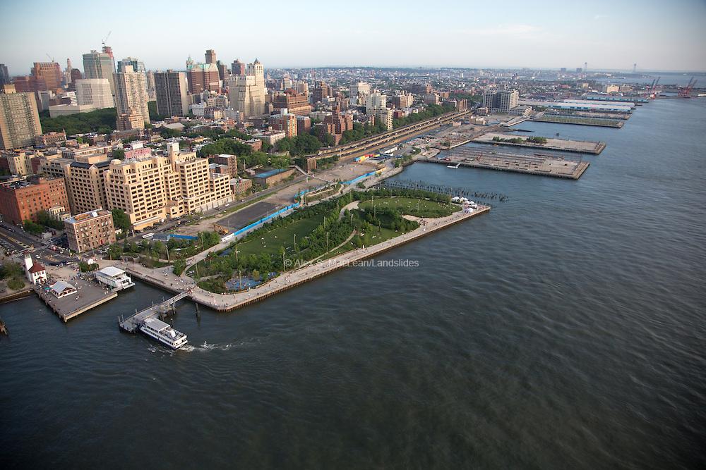 Pier One of Brooklyn Bridge Park looking towards Brooklyn. Park designed by Michael Van Valkenburgh Associates