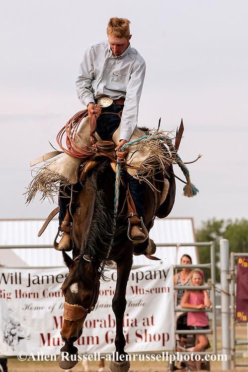 Will James Roundup, Ranch Rodeo, Ranch Bronc Riding, Tyler Sherman, Hardin, Montana
