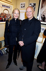 CLARA FISCHER and actor STEVEN BERKOFF at an exhibition of postcards by the late Donald McGill hosted by Michael Winner at Chris Beetles, 8&10 Ryder Street, London SW1 on 14th March 2006.<br />