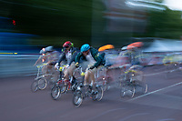 Slow shutter speed effect of the Riders cycling up The Mall in The Brompton World Championship. Saturday 28th July 2018<br /> <br /> Photo: Ian Walton for Prudential RideLondon<br /> <br /> Prudential RideLondon is the world's greatest festival of cycling, involving 100,000+ cyclists - from Olympic champions to a free family fun ride - riding in events over closed roads in London and Surrey over the weekend of 28th and 29th July 2018<br /> <br /> See www.PrudentialRideLondon.co.uk for more.<br /> <br /> For further information: media@londonmarathonevents.co.uk