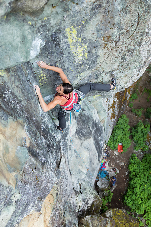 Ines Papert sport climbing Fish Ladder, 5.11b, Paradise Valley, Squamish, BC