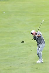 June 22, 2018 - Madison, WI, U.S. - MADISON, WI - JUNE 22: John Huston hits his third shot on the ninth hole during the American Family Insurance Championship Champions Tour golf tournament on June 22, 2018 at University Ridge Golf Course in Madison, WI. (Photo by Lawrence Iles/Icon Sportswire) (Credit Image: © Lawrence Iles/Icon SMI via ZUMA Press)