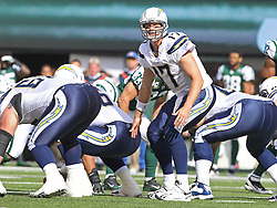 Oct 23, 2011; East Rutherford, NJ, USA; San Diego Chargers quarterback Philip Rivers (17) changes the play during the first half of their game against the New York Jets at MetLife Stadium.