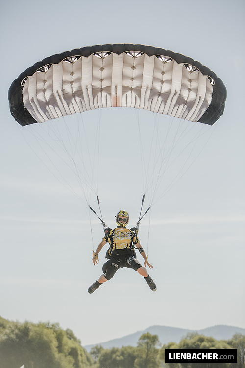 Skydive Dubai Team member Cornelia Mihai is coming in for landing during zone accuracy at the Pink Open Canopy Piloting Competition in Klatovy, August 2013