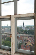 Blick aus Fenster, Türmerwohnung der Jakobskirche, Weimar, Thüringen, Deutschland | window in watchman flat, Jacobs church, Weimar, Thuringia, Germany