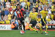 AFC Bournemouth's striker Joshua King getting around Watford's defence during the Barclays Premier League match between Bournemouth and Watford at the Goldsands Stadium, Bournemouth, England on 3 October 2015. Photo by Mark Davies.