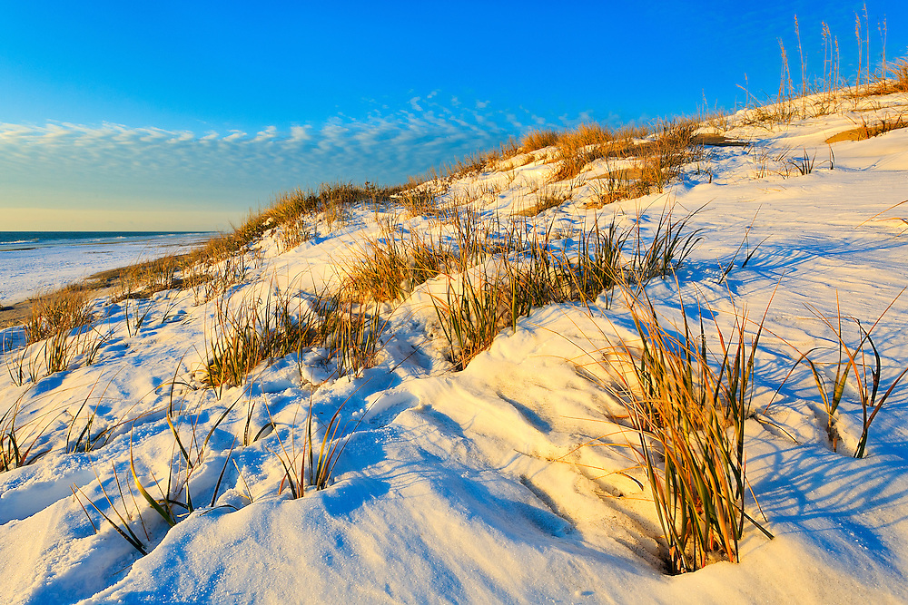 Snow-covered Cape Hatteras beach