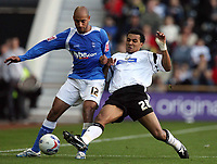 Photo: Rich Eaton.<br /> <br /> Derby County v Birmingham City. Coca Cola Championship. 21/10/2006. Giles Barnes right of Derby tackles Mehdi Nafti of Birmingham City