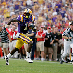 19 September 2009: LSU Tigers wide receiver Brandon LaFell (1) runs after a catch for a touchdown during a 31-3 win by the LSU Tigers over the University of Louisiana-Lafayette Ragin Cajuns at Tiger Stadium in Baton Rouge, Louisiana.