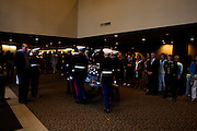 The Marine Honor Guard brings the casket carrying Lt. Madrazo in to the church...Service (Funeral) for Lt. Nicolas Madrazo of Bothell, Washington. Killed in Action September 9, 2008 in Afghanistan...Westminster Chapel, Bellevue, Washington.