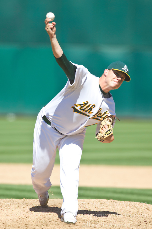July 11, 2010; Oakland, CA, USA;  Oakland Athletics relief pitcher Andrew Bailey (40) pitches against the Los Angeles Angels during the ninth inning at Oakland-Alameda County Coliseum. Oakland defeated Los Angeles 5-2.