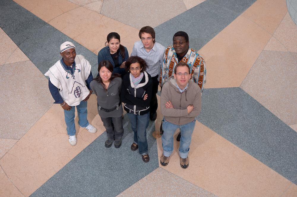 Timothy Adivilah, Mohira Kurbanova, Tianjiao Chen, Edward Akita, Reuben Dlamini,  Sebastian Doering.....International Student in Baker Center Globes...International Student in Baker Center Globes