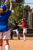 Pitcher Throwing Softball Towards Batter