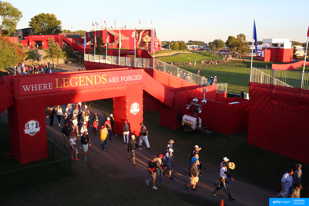 Ryder Cup 2016. Day Two. Spectators leaving after competition during the Ryder Cup at the Hazeltine National Golf Club on October 01, 2016 in Chaska, Minnesota.  (Photo by Tim Clayton/Corbis via Getty Images)