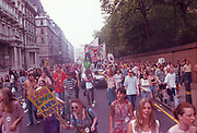 Ravers protesting on the streets,2nd Criminal Justice March, Victoria, London, UK, 23rd of July 1994.