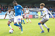 Macclesfield Town midfielder Emmanuel Osadebe in possession of the ball during the EFL Sky Bet League 2 match between Macclesfield Town and Colchester United at Moss Rose, Macclesfield, United Kingdom on 28 September 2019.