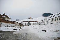 The snow-covered area behind Einsiedeln Cathedral, Switzerland.