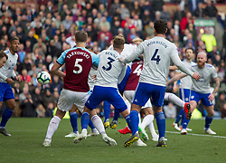 Chris Wood of Burnley (Hidden) scores his sides first goal - Mandatory by-line: Jack Phillips/JMP - 13/04/2019 - FOOTBALL - Turf Moor - Burnley, England - Burnley v Cardiff City - English Premier League