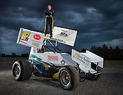 Portrait of Harli White and her sprint race car at her home in Lindsay, Oklahoma