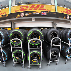 Pirellii  F1 tyres.<br /> Day 1 of the 2017 Formula 1 Singapore airlines, Singapore Grand Prix, held at The Marina Bay street circuit, Singapore on the 14th September 2017.<br /> Wayne Neal | SportPix.org.uk