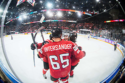 Players of Switzerland celebrate after scoring third goal during the 2017 IIHF Men's World Championship group B Ice hockey match between National Teams of Switzerland and France, on May 9, 2017 in Accorhotels Arena in Paris, France. Photo by Vid Ponikvar / Sportida
