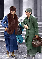 L-R: Constance Markievicz, Kathleen Lynn at Earlsfort Terrace, probably taken at the treaty debates, Dec 1921-Jan 1922. Kathleen Lynn was born in Cong, Co Mayo, daughter of a Bishop of the Church of Ireland. She completed her medical training and by 1913 was Chief Medical Officer of the Citizen Army. Image hand coloured by our Image Archivist. <br />