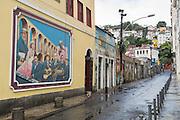 A painted mural on a wall of Restaurante Ernesto in the Lapa neighborhood of Rio de Janeiro, Brazil.