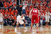 CHARLOTTESVILLE, VA - DECEMBER 4: Justin Anderson #1 of the Virginia Cavaliers defends against the Wisconsin Badgers during the Big Ten/ACC Challenge game at John Paul Jones Arena on December 4, 2013 in Charlottesville, Virginia. Wisconsin won 48-38. (Photo by Joe Robbins) *** Local Caption *** Justin Anderson