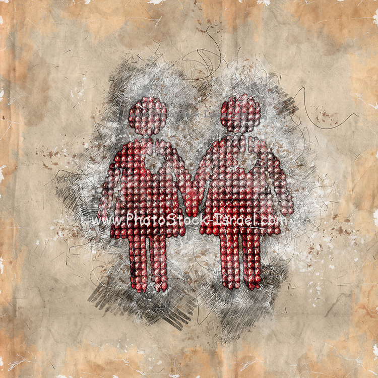 Digitally enhanced image of a sketch of two female figures walking hand in hand with a heart symbol of love for their hearts.  Photograph of Pedestrian lights at a zebra crossings in Vienna Austria