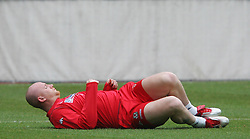 VIENNA, AUSTRIA - TUESDAY MARCH 29th 2005: Wales' John Hartson during a training session at the Ernst Happel Stadium ahead of their World Cup Qualifying Group Six match against Austria. (Pic by David Rawcliffe/Propaganda)