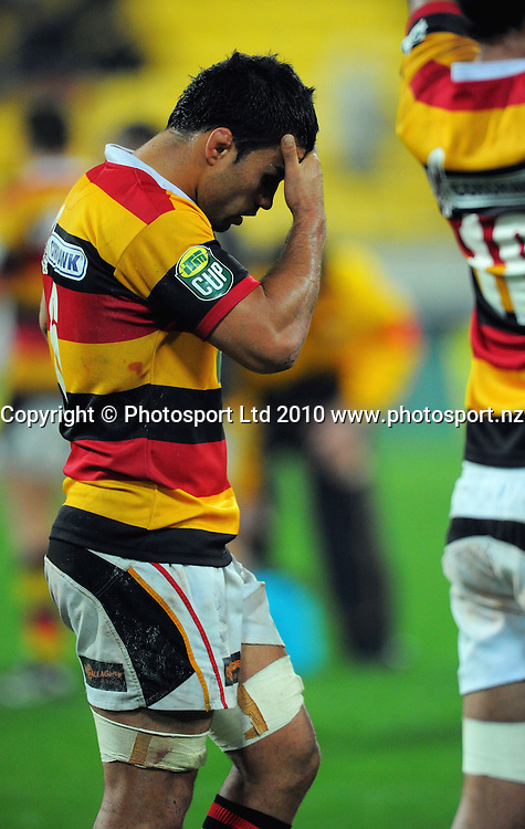 Waikato's Liam Messam after the loss. ITM Cup rugby union - Wellington Lions v Waikato at Westpac Stadium, Wellington, New Zealand on Saturday, 21 August 2010. Photo: Dave Lintott/PHOTOSPORT