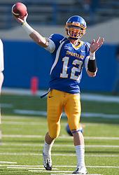 October 10, 2009; San Jose, CA, USA;  San Jose State Spartans quarterback Jordan La Secla (12) before the game against the Idaho Vandals at Spartan Stadium.