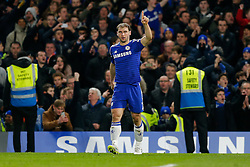 Branislav Ivanovic of Chelsea celebrates  after scoring a goal from a header to make it 1-0 (2-1 on aggregate) during extra time - Photo mandatory by-line: Rogan Thomson/JMP - 07966 386802 - 27/01/2015 - SPORT - FOOTBALL - London, England - Stamford Bridge - Chelsea v Liverpool - Capital One Cup Semi-Final Second Leg.