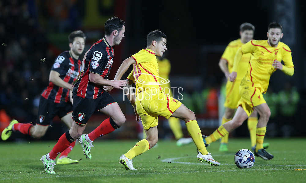 Liverpool stiker Philippe Coutinho during the Capital One Cup match between Bournemouth and Liverpool at the Goldsands Stadium, Bournemouth, England on 17 December 2014.