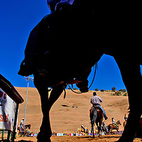 Competitors take the field to warm up before competing in the Red Rock Classic team roping competition Saturday at Red Rock Park in Church Rock.