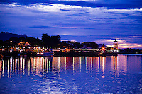 Evening view of the Kuching River in Sarawak.