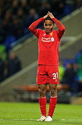 BOLTON, ENGLAND - Wednesday, February 4, 2015: Liverpool's Raheem Sterling looks dejected after missing a chance against Bolton Wanderers during the FA Cup 4th Round Replay match at the Reebok Stadium. (Pic by David Rawcliffe/Propaganda)