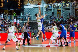 Uros Slokar of Slovenia vs Marco Cusin of Italy during friendly basketball match between National teams of Slovenia and Italy at day 3 of Adecco Cup 2015, on August 23 in Koper, Slovenia. Photo by Grega Valancic / Sportida