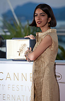 Actress Solmaz Panahi, representing her father Jafar Panahi, joint winner of the Best Screenplay prize for the film 3 Faces (Se Rokh) at the Award Winner's photo call at the 71st Cannes Film Festival, Saturday 19th May 2018, Cannes, France. Photo credit: Doreen Kennedy