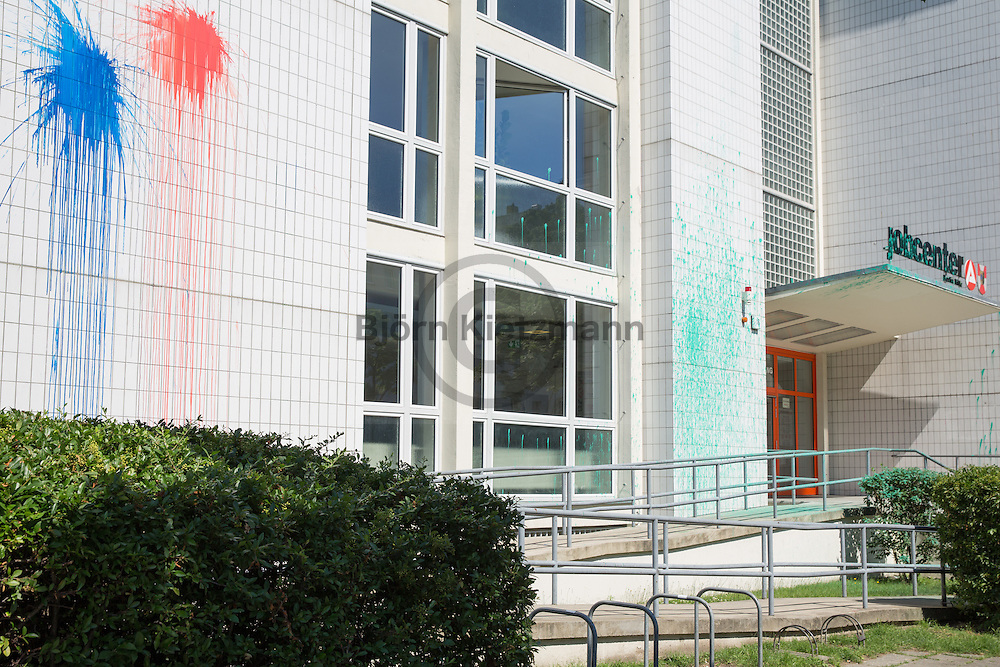 Berlin, Germany - 24.06.2016 <br /> <br /> Paint attack on the job center in Berlin-Wedding. In a video claiming responsibility relation was taken to part eviction of left houseproject Rigaer94.<br /> <br /> Farbanschlag auf das Jobcenter in Berlin-Wedding.In einem Bekennervideo wurde sich auch auf die Teilraeumung des linken Hausprojekts Rigaer94 bezogen.<br /> <br /> Photo: Bjoern Kietzmann