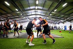 Niall Annett and Sam Lewis of Worcester Warriors during preseason training ahead of the 2019/20 Gallagher Premiership Rugby season - Mandatory by-line: Robbie Stephenson/JMP - 06/08/2019 - RUGBY - Sixways Stadium - Worcester, England - Worcester Warriors Preseason Training 2019
