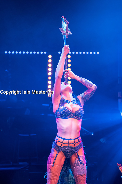 Edinburgh, Scotland, United Kingdom. 21November, 2017. Cabaret group Le Clique present their Christmas show Le Clique Noel at the Spiegeltent in Edinburgh as part of the city's annual Christmas festivities. Heather Holliday performs her sword-swallowing act.