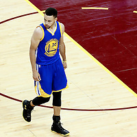 10 June 2016: Golden State Warriors guard Stephen Curry (30) reacts during the Golden State Warriors 108-97 victory over the Cleveland Cavaliers, during Game Four of the 2016 NBA Finals at the Quicken Loans Arena, Cleveland, Ohio, USA.