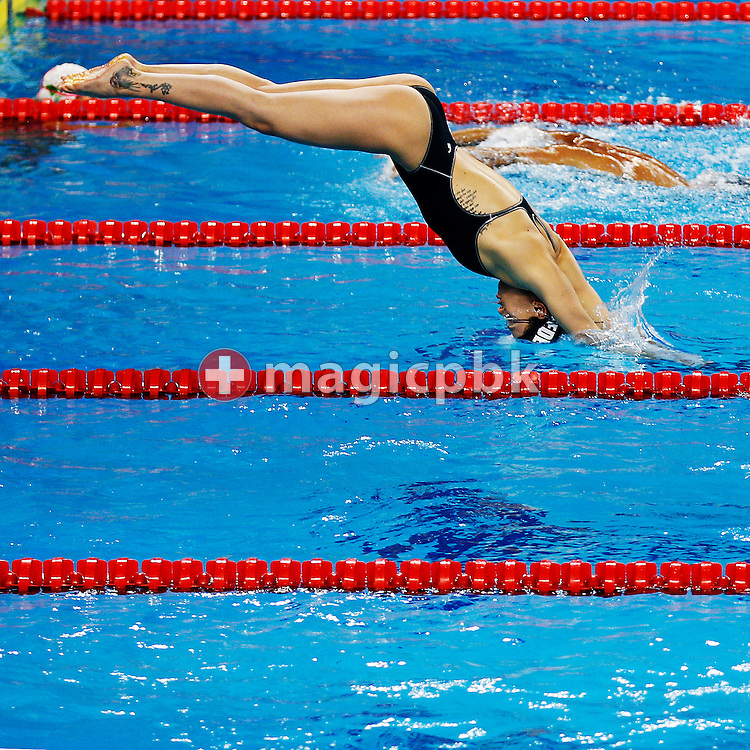 Federica PELLEGRINI of Italy is pictured during a training session 2 days prior to the start of the 12th Fina World Short Course Swimming Championships held at the Hamad Aquatic Centre in Doha, Qatar, Monday, Dec. 1, 2014. (Photo by Patrick B. Kraemer / MAGICPBK)