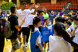 HONG KONG, CHINA - Tuesday, July 18, 2017: Liverpool's Dejan Lovren waves goodbye to the children during a Premier League skills kids event at the Macpherson Stadium ahead of the Premier League Asia Trophy 2017. (Pic by David Rawcliffe/Propaganda)
