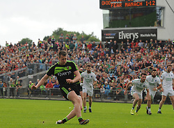 Mayo &rsquo;s Cillian O&rsquo;Connor kick&rsquo;s his team&rsquo;s penalty against Fermanagh.<br /> Pic Conor McKeown