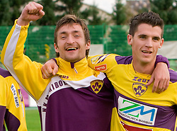 Armin Bacinovic, Vito Plut of Maribor celebrate at 13th Round of Prva Liga football match between NK Olimpija and Maribor, on October 17, 2009, in ZAK Stadium, Ljubljana. Maribor won 1:0. (Photo by Vid Ponikvar / Sportida)