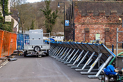 © Licensed to London News Pictures. 26/02/2020. Ironbridge, UK. Flood defences in Ironbridge on part of the River Severn as levels continued to rise police evacuated part of the town. Photo credit: Peter Manning/LNP